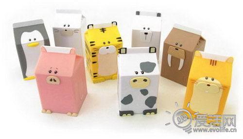 超可爱的小动物牛奶盒会发声