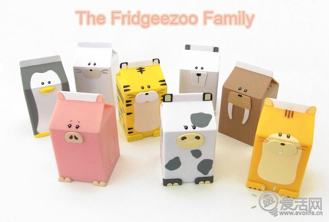 冰箱里的小门神 超可爱的小动物牛奶盒会发声