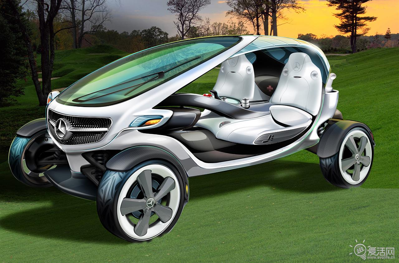 开杆不忘发微博 奔驰提出高尔夫球车新概念