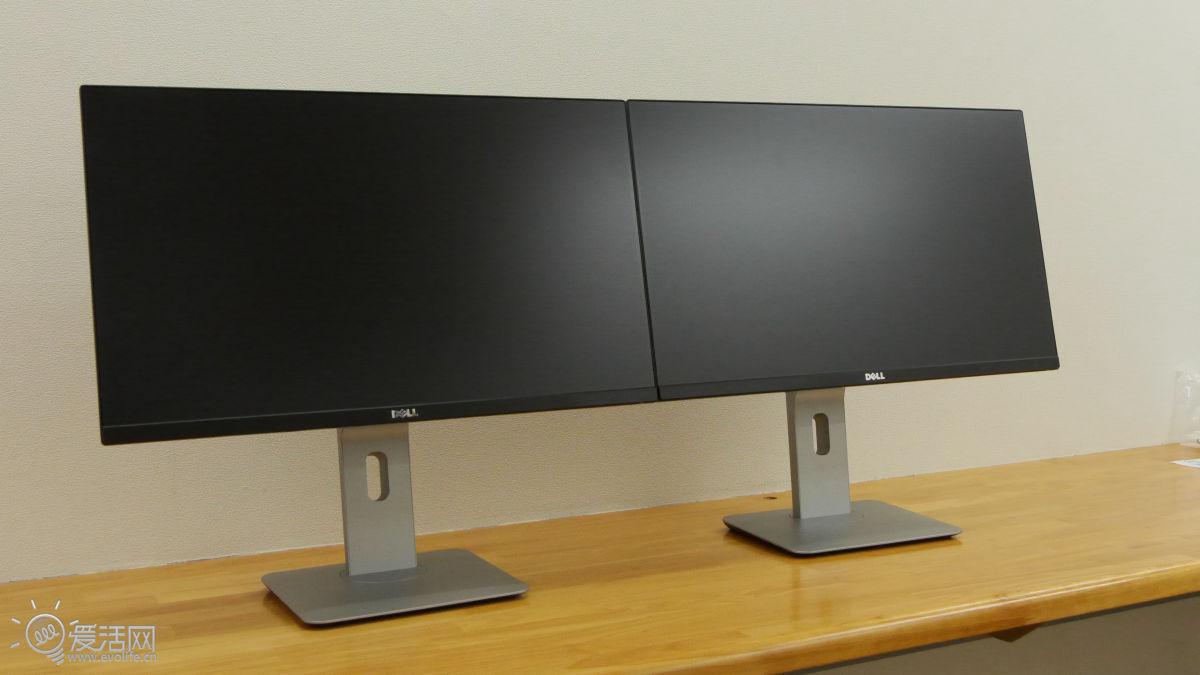 6毫米超窄边框 戴尔u2314h显示器科幻双屏体验