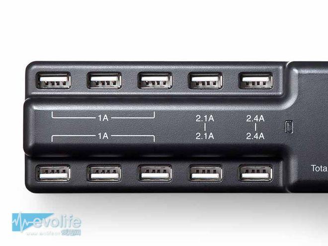 有了它还怕手机没电?能同时接10个设备的USB充电适配器登场