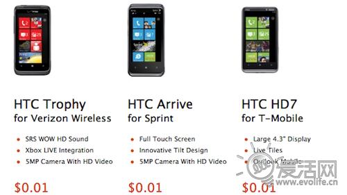 微软慷慨解囊 三款WP7手机都只卖1美分?