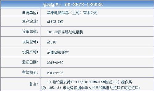 终于来了 中移动4G LTE版iPhone 5s/5c现身工信部